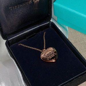 Tiffany 18k rose gold locket love necklace